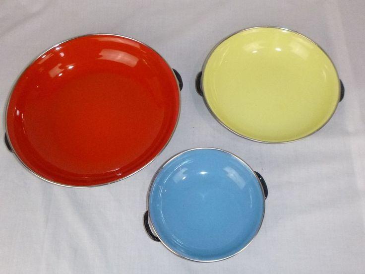 3 Vtg Mid Century Emo Celje Enamel Saute Pans Yugoslavia Red Yellow Blue Nesting #EmoCeljie