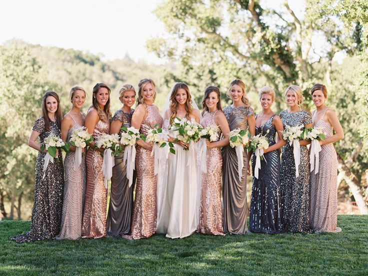 mix and match metallic bridesmaid dresses   long sequin bridesmaid gowns    private property wedding   outdoor reception and ceremony   neutral natural wedding decor