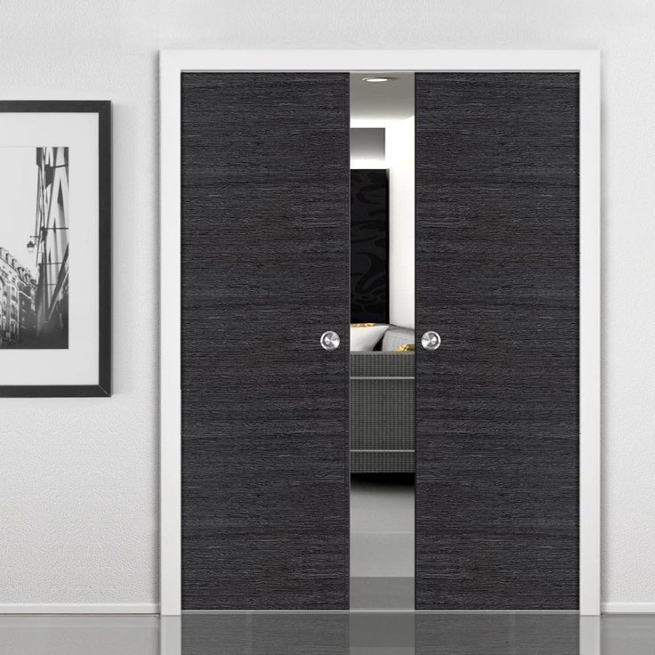 Double Pocket Eco Grigio Ash Grey sliding door system in three sizes. #pocketdoor #interanlpocketdoor #flushpocketdoors
