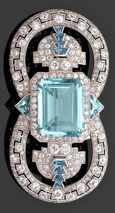 #jewelry ~  #brooch,Art Deco Aquamarine, Diamond, and Platinum Brooch (1925) by Cartier