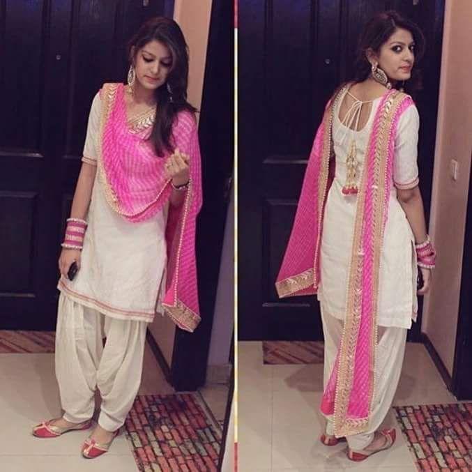 Fashionable White Pink Colour Cotton Semi Stitched Suit Patiyala