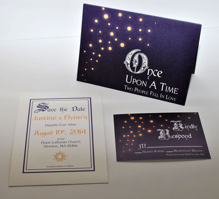 Tangled inspired wedding invitation set. www.catrinajoki.com