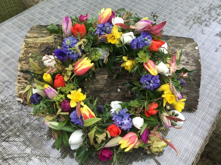 Wreath ring, all British flowers, spring, tulips,daffodils, hyacinth, catkins .