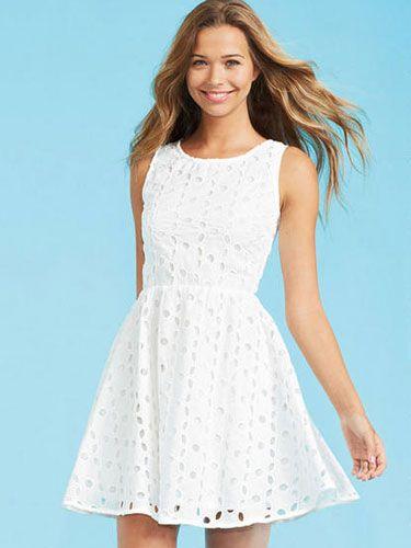White Eyelet Dress, $44.50