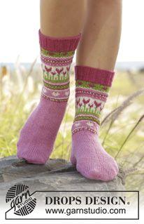 Kuviolliset sukat DROPS Flora-langasta. Koot 24 - 34. Ilmaiset ohjeet DROPS Designilta.