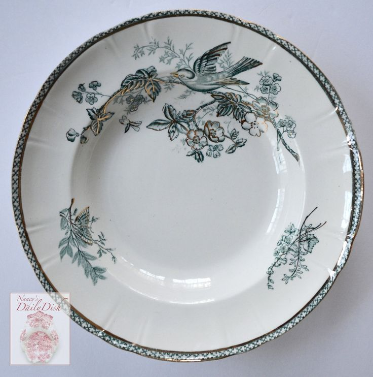 Antique Gustafsberg Swedish Teal Transferware Soup Bowl Plate Sparrow Bird Butterfly & Botanicals