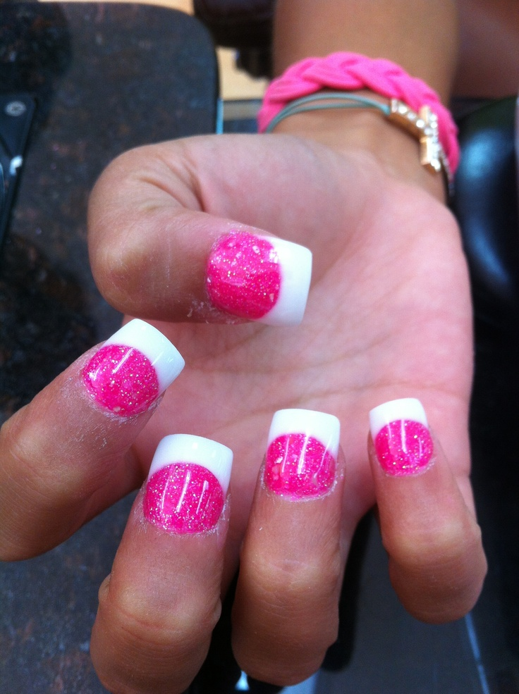 hot pink tip nails - photo #14