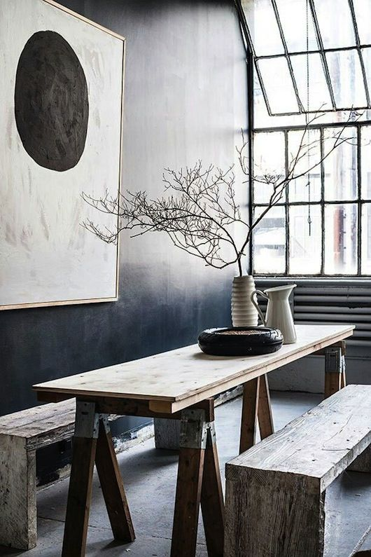 Accent wall. Dining Room. Space. Wood Table and Benches. Interior Design. Loft. Warehouse. Home. Decor. Modern.