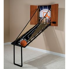 The Wall Mounted Fold Out Mahogany Basketball Game - Hammacher Schlemmer