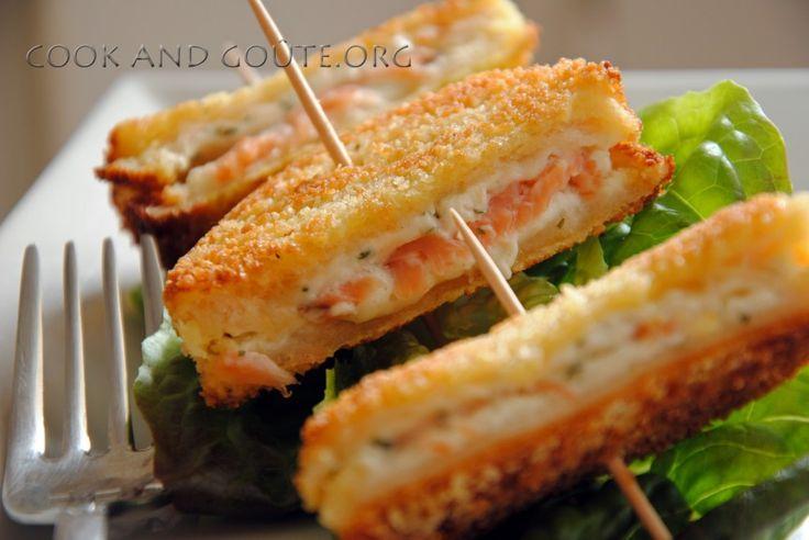 Présentez à votre belle petite famille des minis croques panés au saumon accompagnés d'une petite salade. Un succès quasi sûr et surtout rapide à faire.