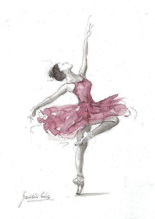 Acuarela original de la bailarina pintura de bailarina