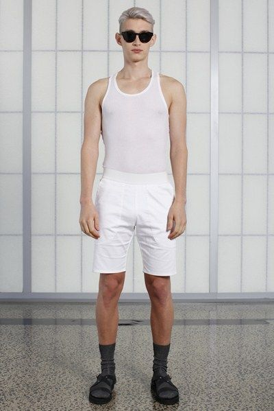s/s 13/14 mens key looks - M03. phys-ed tank in white waffle, fitted short in white, jetson tinted eyewear.