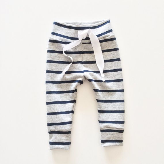 Navy Stripe Baby Joggers Baby Jogger Pants by TheHillStitchCompany