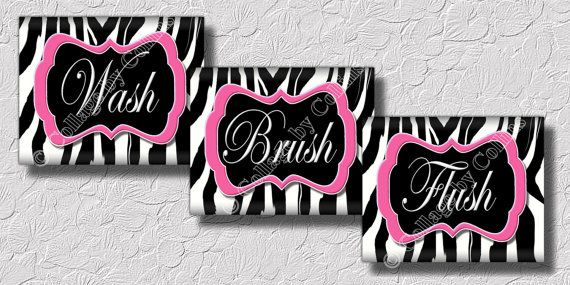 Pink Zebra Print Wall Word Art Bathroom Decor by collagebycollins