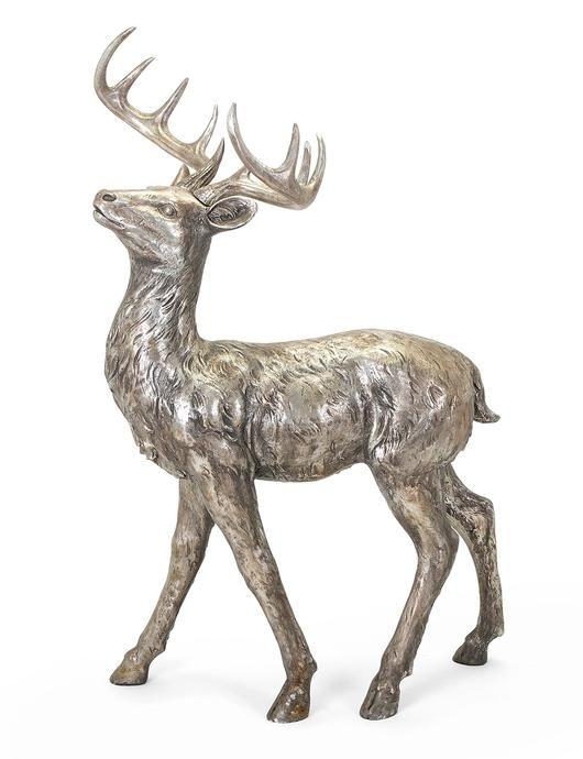 Oversized Silver And Gold Metallic Standing Reindeer Reindeer Figurine Reindeer Sculpture Reindeer