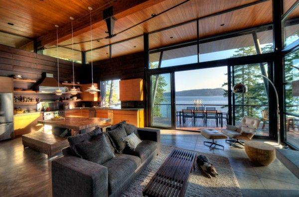 An elegant residence overlooking the Lake living room design