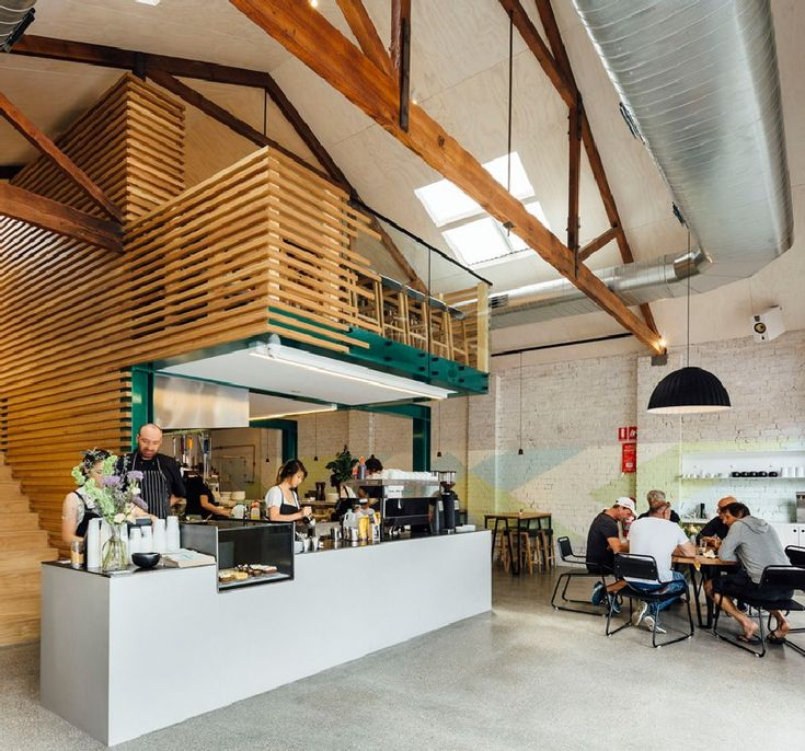 timber slatted mezzanine as highlight for code black cafe in melbourne http