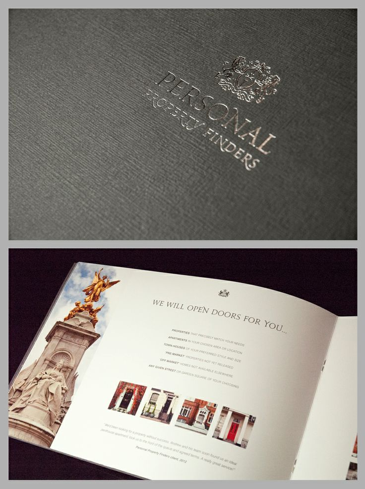 Property brochure. Foil blocking Textured card landscape gloss spreads