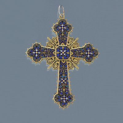 Antique 18 karat Gold, Enamel and Lapis Lazuli Cross. Available exclusively at Macklowe Gallery.