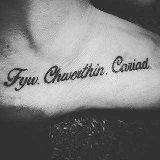 "Similar tattoo, but in Gaelic. This tattoo in Welsh, that reads ""Live, laugh, love"". 