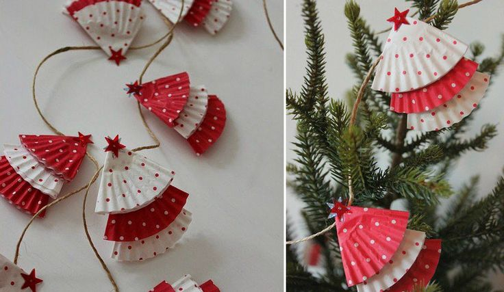 guirlande de Noël en papier à faire soi-même - sapins en caissettes à cupcakes blanches et rouges