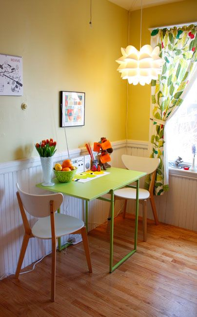 Love the white chair rail and wainescotting with the yellow upper wall... New Kitchen?!?!