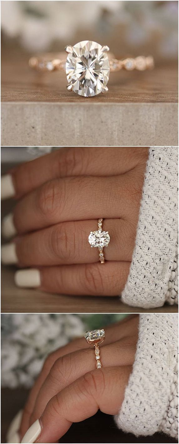 2.00cts Moissanite Oval Forever Classic Engagement Ring, Oval 9x7mm Moissanite and Diamond Solitaire Wedding Ring, Rose Gold Moissanite Ring #RoseGoldJewellery #diamondengagementring #diamondsolitairering
