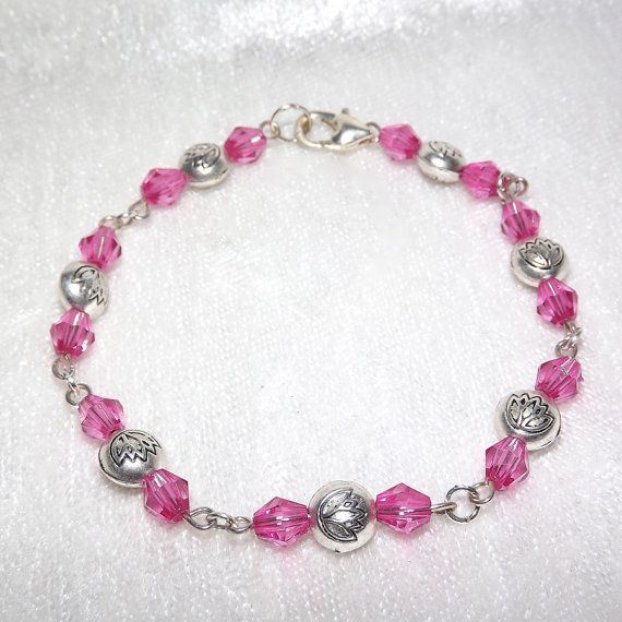 Beaded Bracelet  Lotus Sparkly Pink  FREE UK P&P  by KasumiCrafts