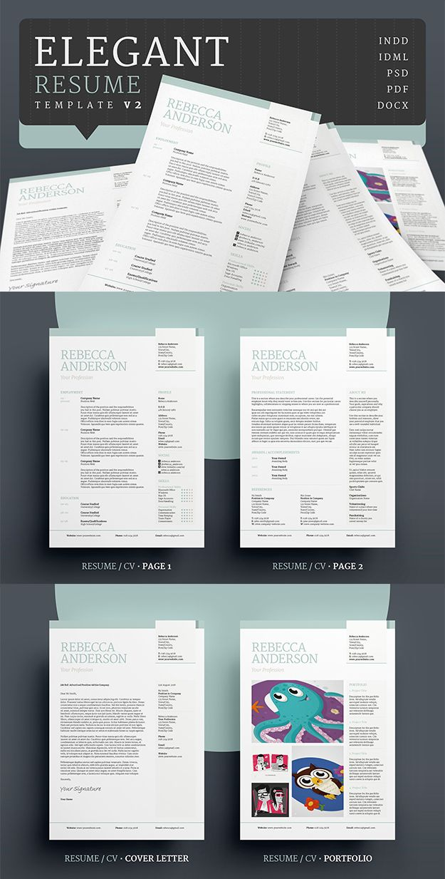 Professional Resume/CV / Portfolio template with a clean, elegant design. Word, Photoshop, inDesign. #resume #cv #template