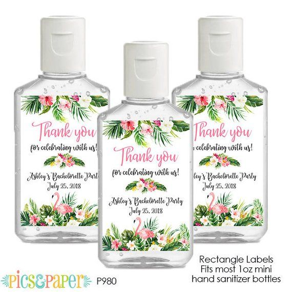 Flamingo Mini Hand Sanitizer Labels Personalized For Bridal Shower