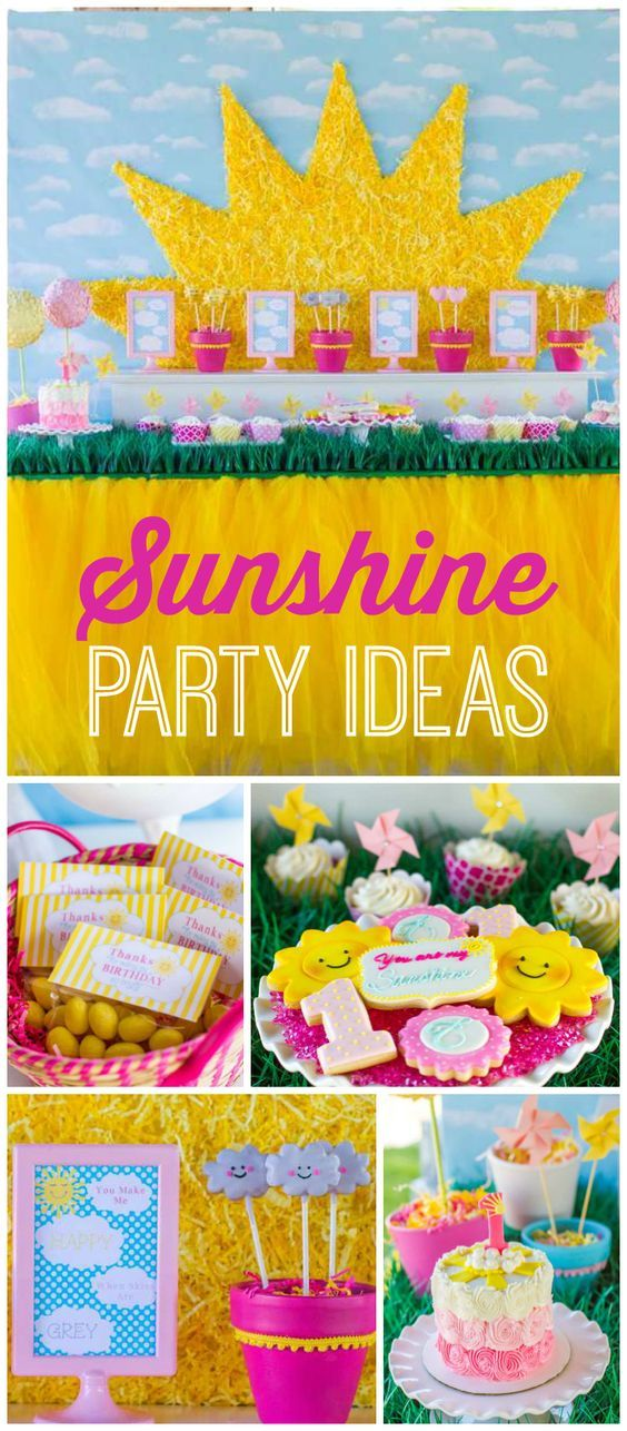 You've got to see this gorgeous pink and yellow sunshine party! See more party ideas at CatchMyParty.com!