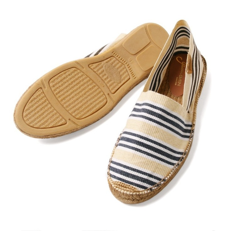 Gaimo Camping Mens Espadrilles 36.95€ Blue, white and natural stripped mens espadrilles handmade in Spain. All Gaimo shoes are made ​​of natural and organic materials such as 100% natural cotton, linen and / or the best quality chrome-free leather. Through our label made in Spain by hand we can guarantee that our products are top, as already recognized and appreciated in many countries.