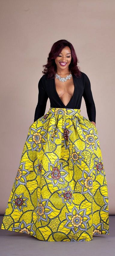 "Bimbou Skirt. Relaxed yet sophisticated and, best of all, universally flattering – just look how it nips in the waist – a full, high waisted skirt is an instant game-changer with two side pockets and approximately 2"" waist band.    Ankara 