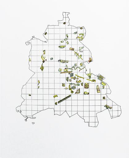 """Peter Riemann und Oswald Mathias Ungers: """"Städte in der Stadt"""", analytische Karte von West-Berlin, 1977"""