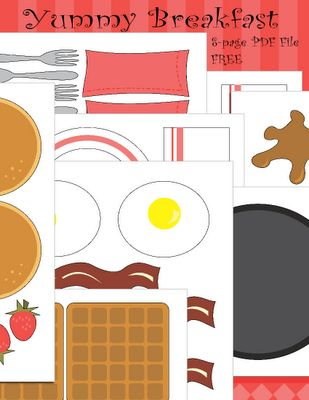 Free breakfast cut and play printable. There are several meal printables on this site that make for fun pretend play for kids.