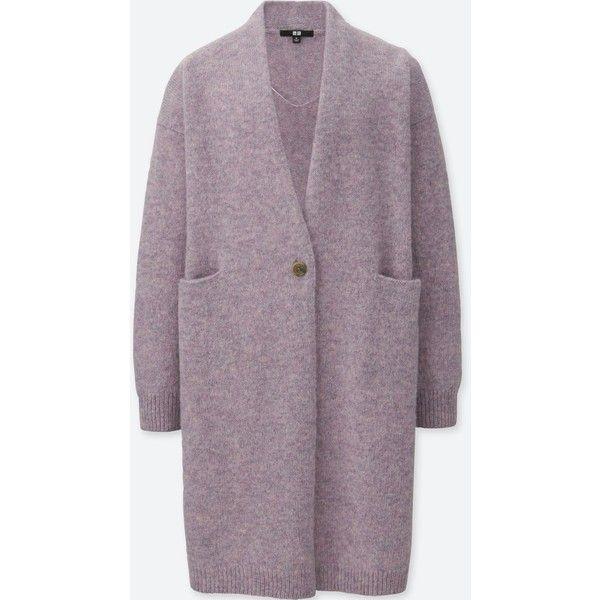 UNIQLO Women's Melange Wool Coat ($40) ❤ liked on Polyvore featuring outerwear, coats, light purple, uniqlo, wool coats, uniqlo coats, woolen coat and purple wool coat