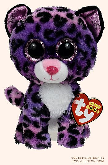 This is Jewel the Cheetah. She has pink, and purple fur with cheetah print, she also has big pink sparkly eyes and purple metallic ears and a solid white belly.