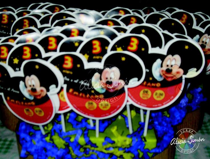 Invitaciones Mickey Mouse con paleta