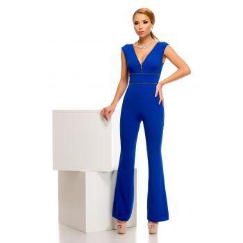Salopeta lunga albastra, evazata extrem de sexy si provocatoare potrivita pentru un eveniment elegant.