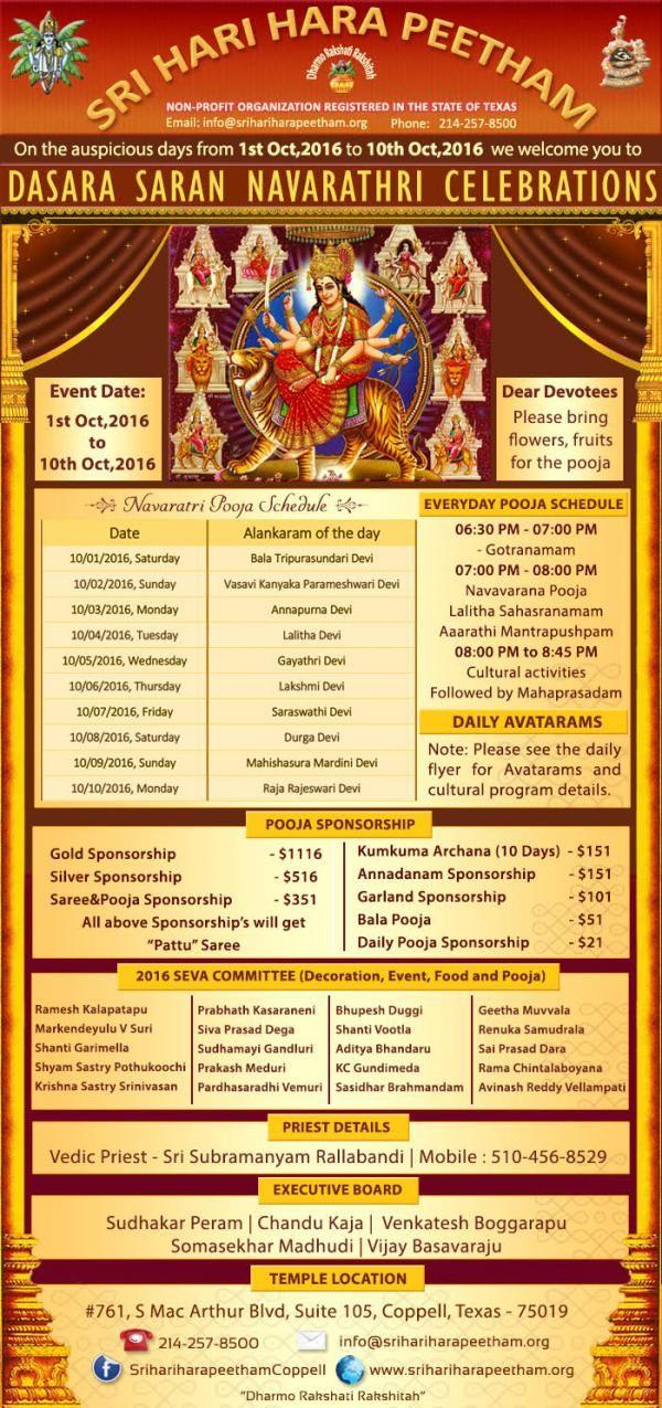 Dasara Saran Navratri Celebrations Schedule Sat, 01 Oct 2016 - Mon, 10 Oct 2016  6:30 PM Venue Sri Hari Hara Peetham (SHHP) 761 S MacArthur Blvd Coppell, TX 75019