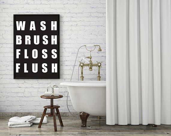 Wash Brush Floss Flush Printable Wall Art  Typographic Print