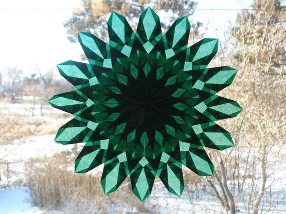 Emerald Green Sunburst Window Star by harvestmoonbyhand on Etsy, $19.00