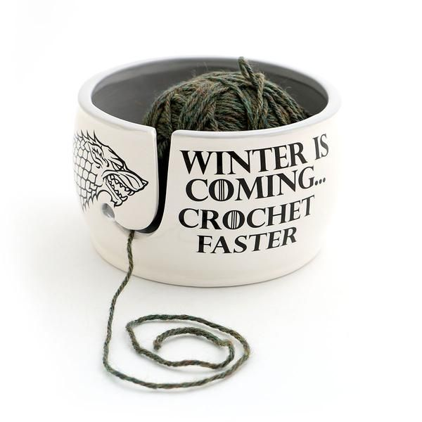 Game of Thrones CROCHET Yarn Bowl -  Winter is Coming Grey Inside