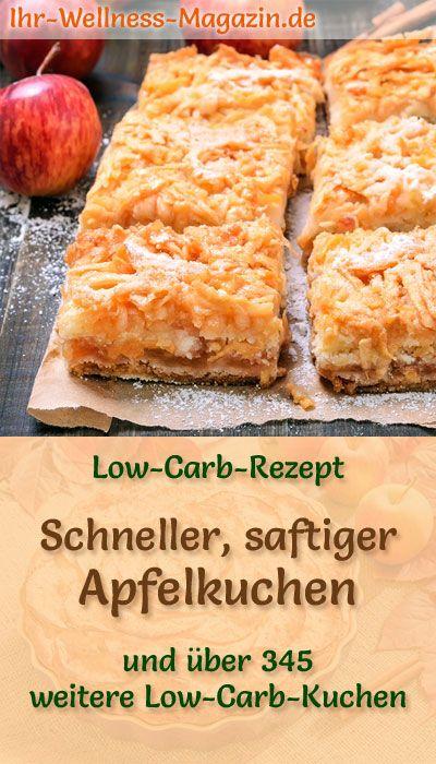 Schneller, saftiger kohlenhydratarmer Apfelkuchen – Rezept ohne Zucker   – Apfel-Rezepte – Alles mit Äpfeln