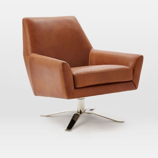 Lucas Leather Swivel Base Chair | West Elm | Many color options | $999
