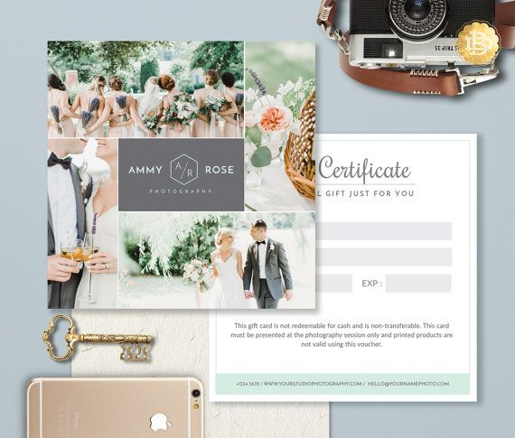 Photography Gift Card Template, Photoshop Gift Certificate Template for Photographer, Gift Card Design - INSTANT DOWNLOAD - GC004
