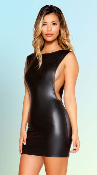 Show some skin in this sexy wet look dress featuring a high neck, deep cut sleeves, a low scoop back, and a form fitting skirt. Deep Sleeve Black Mini Dress, Black Mini Dress, Wet Look Dress