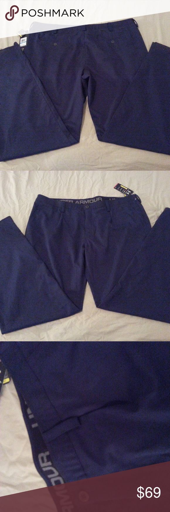 Mens New Under Armour Pants 46x38 Navy Blue Athlet Mens New Under Armour Pants 46x38 Navy Blue Athletic Golf  Hi! Welcome to my store! Up for sale is a pair of Under Armour Shorts. The size is 42. Waist measures 21 1/2 inches laying flat. Inseam is 38 inches. If the item does not meet your expectations you can return for a full refund. Please message me if you have any questions. Thanks for looking! Under Armour Pants