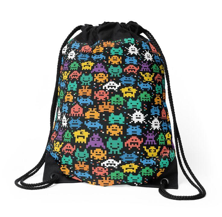 Pixelated Emoji Monster Pattern Illustration by Gordon White | Emoji Monster Drawstring Bag Available @redbubble --------------------------- #redbubble #emoji #emoticon #smiley #faces #cute #addorable #pattern #drawstring #bag