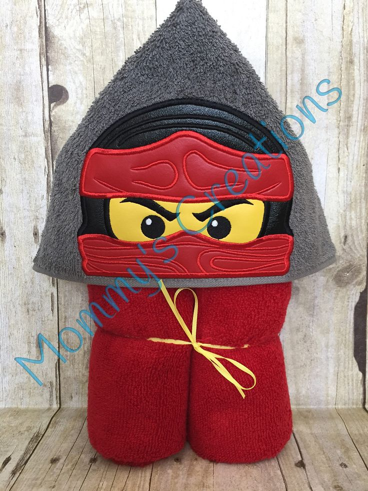 """Toy Ninja Applique Hooded Bath, Beach Towel, Cover Up 30"""" x 54"""" by MommysCraftCreations on Etsy"""